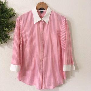 Lauren Ralph Lauren Pink with White Stripes Blouse